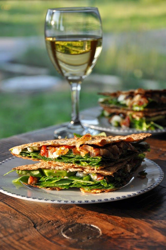 Quesadillas stuffed with spinach, avocado, caramelized onions and feta ...