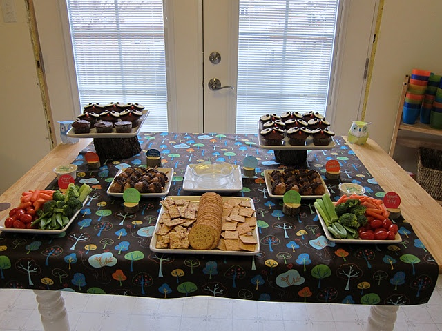 woodland themed shower food the tablecloth will later be turned