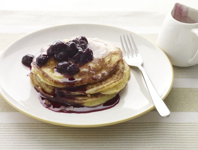 Orange & Ricotta Pancakes with Blueberry Syrup Recipe (Above & Beyond...