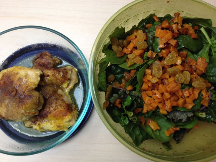 Lunch- Day 18: 2 roasted Moroccan-spiced chicken thighs, salad of baby ...