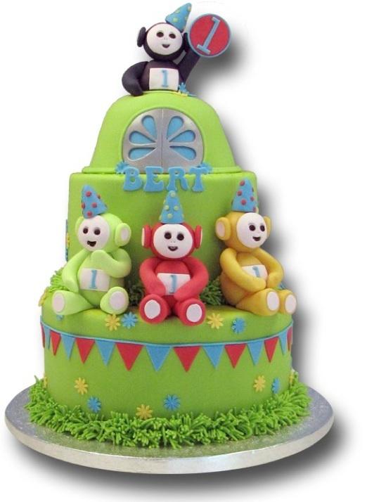 Kidscake with Teletubbies.  Het zonnetjes schijnt, de lucht is blauw, Teletubbies kom maar gauw... want vandaag wordt Bert 1 jaar! Gefeliciteerd!