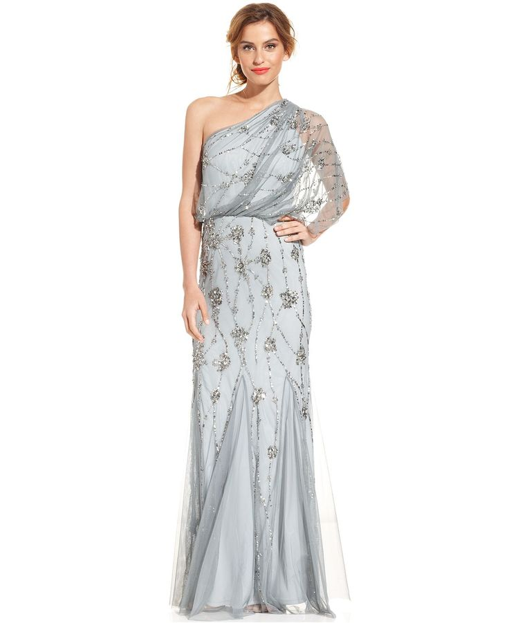 Adrianna papell one shoulder beaded blouson gown for Adrianna papell wedding guest dresses