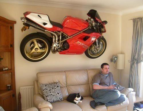 Motorcycle wall art.