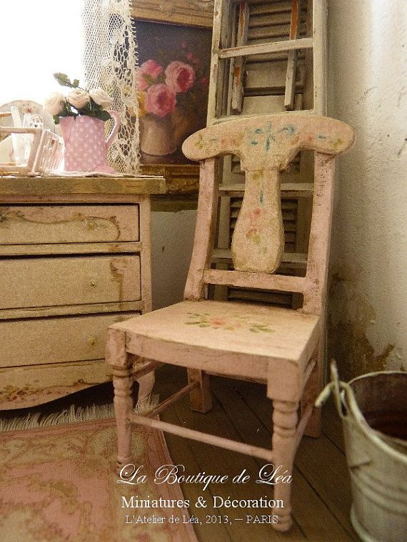 Wooden Shabby pink romantique chair Gustavien by AtelierdeLea, €29 ...