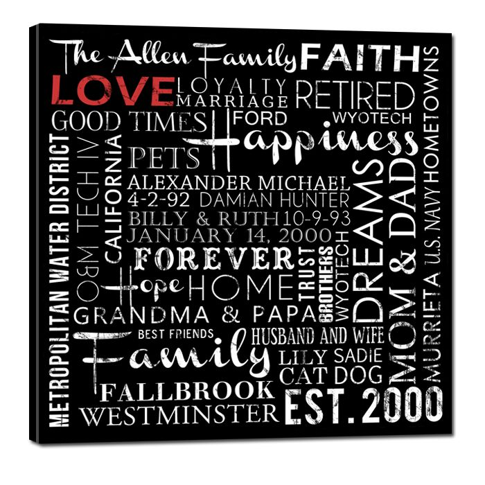 Family Elite Wall Decor Canvas Word Art Pinterest