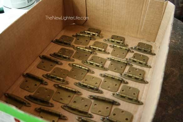 hinges before spray painting  Kitchen  Pinterest