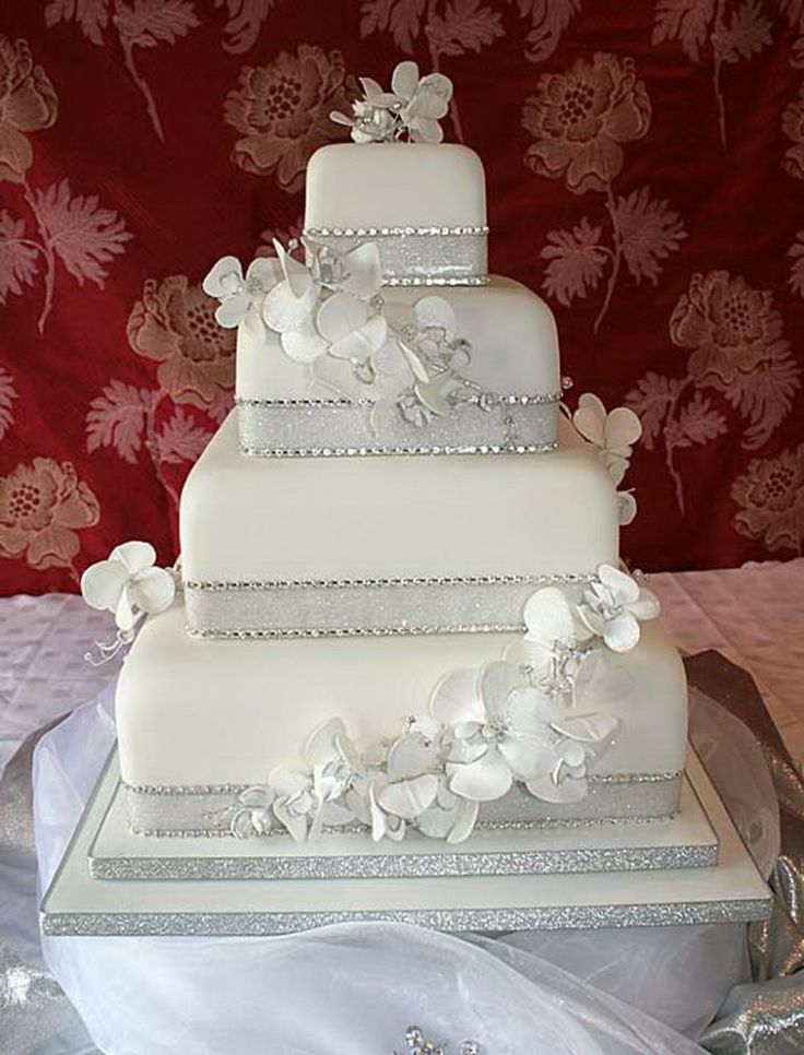 Square Silver Wedding Cakes Weddings Pinterest