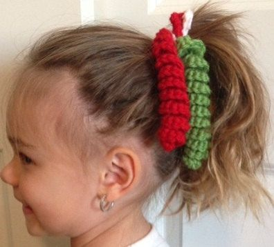 Crochet Curly Q Hair Ties : Christmas Crochet Pony Tail Holder by diecutscraftsandmore on Etsy, $2 ...