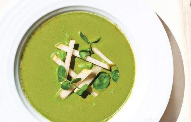 Chilled watercress soup with dressed Asian pear and garden peas | Rec ...
