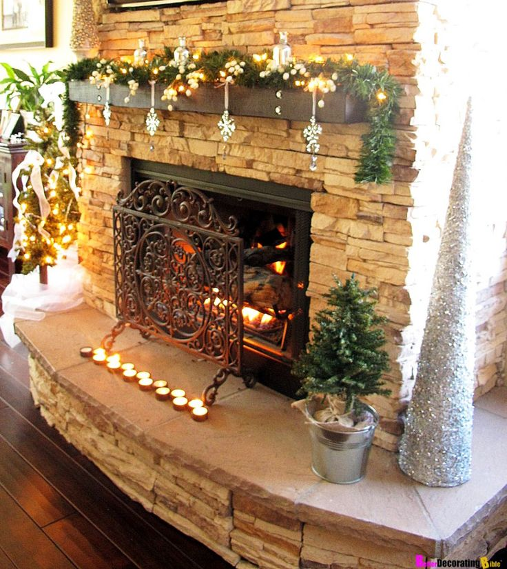 Luxury christmas fireplace decorations fireplace mantles for Luxury fireplace designs