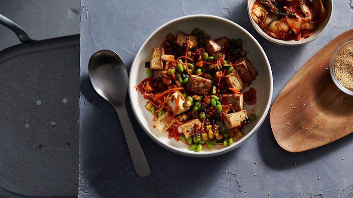 Korean sesame tofu, zucchini and kimchi stir-fry