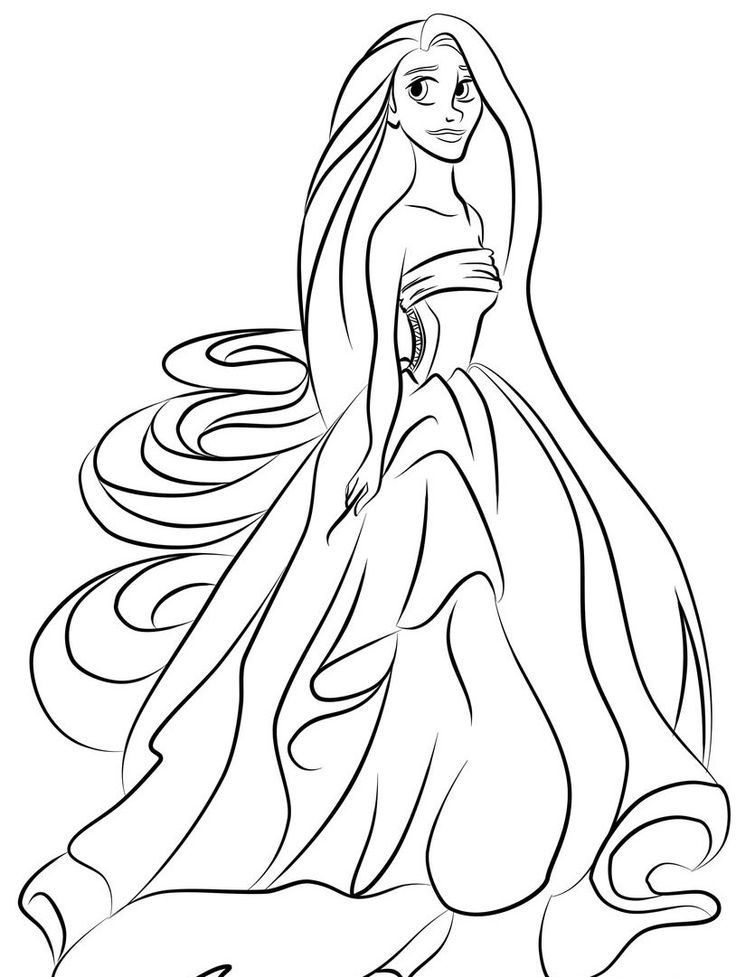 Princess Rapunzel Coloring Pages For Kids cakepins.com