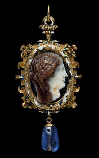 Gold pendant, the oval frame bordered with strapwork, flowers, fruit and leaves, enamelled green, blue and white with traces of red, surrounding a sardonyx cameo portrait of a woman, probably a Ptolemaic princess as Demeter/Ceres, veiled and wreathed with poppies, facing in profile towards the right. Suspension loop, and drop shaped sapphire hanging below. Cameo: 2nd/1st century B.C., Sapphire: 11th century, Mount:16th century.