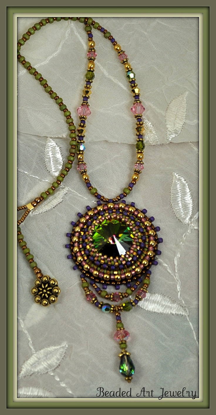 beaded beadwork bead embroidered necklace