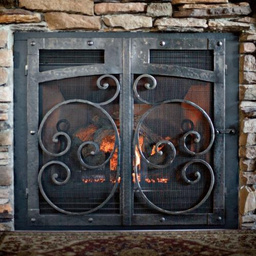 iron fireplace door home pinterest