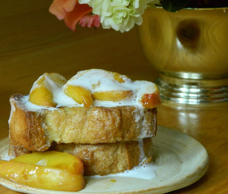 Peaches n' Cream French Toast. Wisk 2 eggs, 1/3 cup milk, tsp vanilla ...