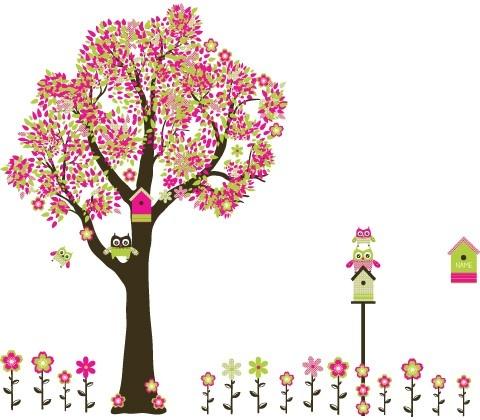 Boom met uilen en bloemen EC606  babykamer  Pinterest