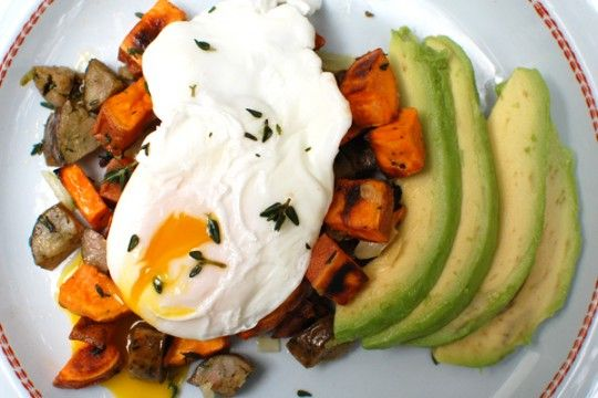 Turkey and thyme sweet potato hash with avocado and poached egg ...