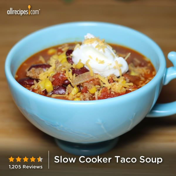 "Slow Cooker Taco Soup | ""This was a great soup! Hearty, tasty, easy ..."