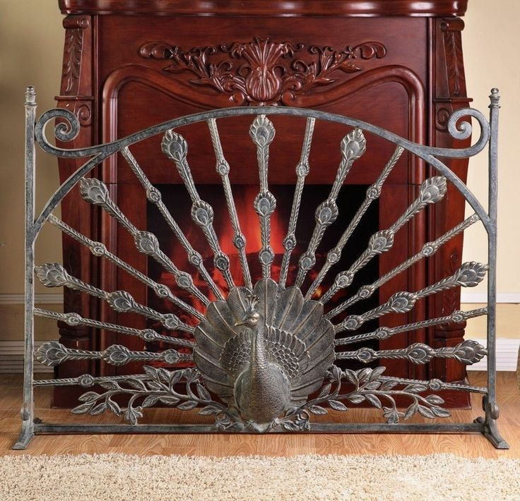Spi home peacock decorative fireplace screen birds 32 h Decorative fireplace screens