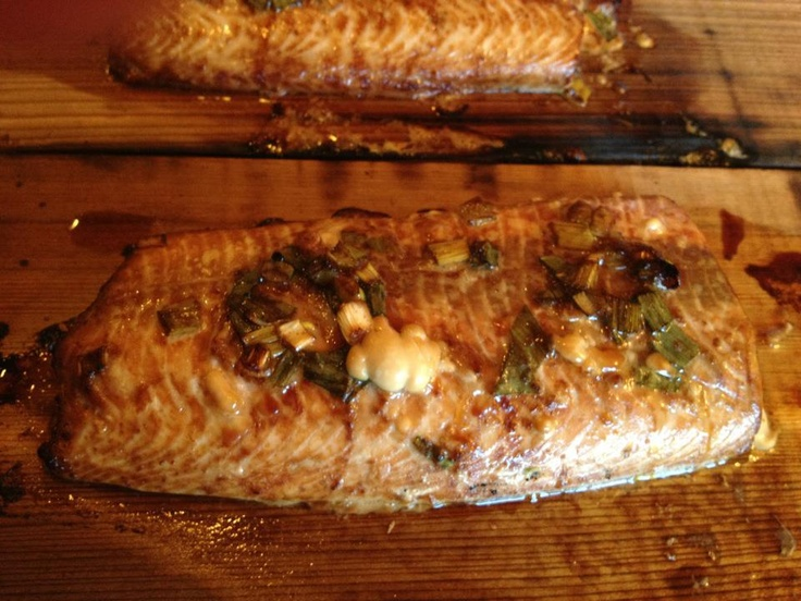 Cedar Plank Salmon with a ginger/green onion sauce. Fabulous!