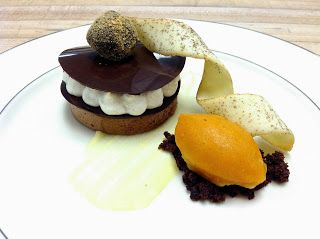 Chocolate chai mousse 'entremet', pumpkin sherbet, orange spiced ...