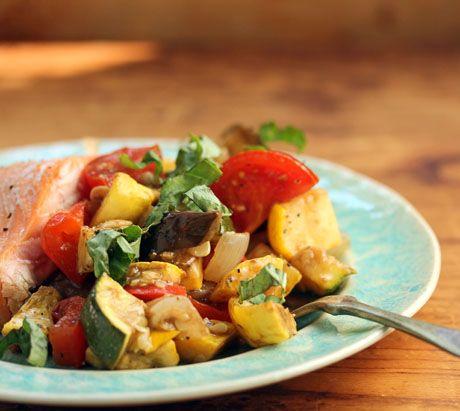 Roasted ratatouille with fresh basil and balsamic vinaigrette {vegan ...