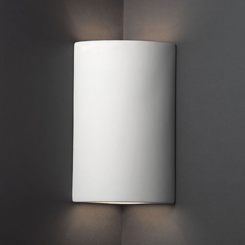 Corner Wall Sconce Light : Cylinder Corner Sconce Wall Light in Bisque Finish