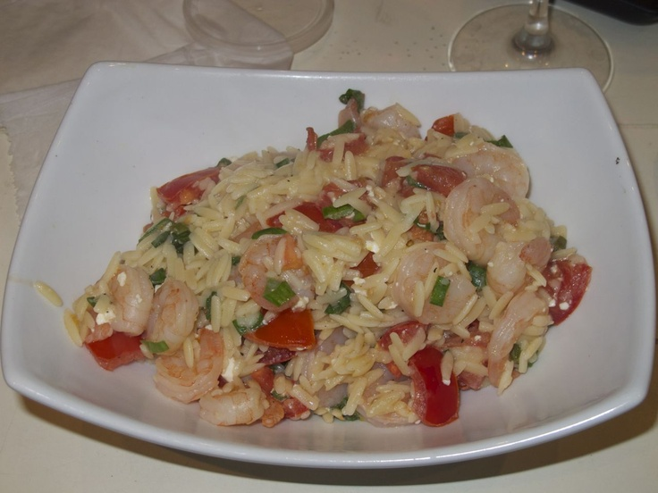 Two Friends with Spice: Basil Shrimp with Feta and Orzo, by Cheryl