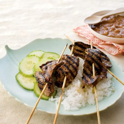 of grilled marinated beef and the spicy-sweet peanut dipping sauce ...