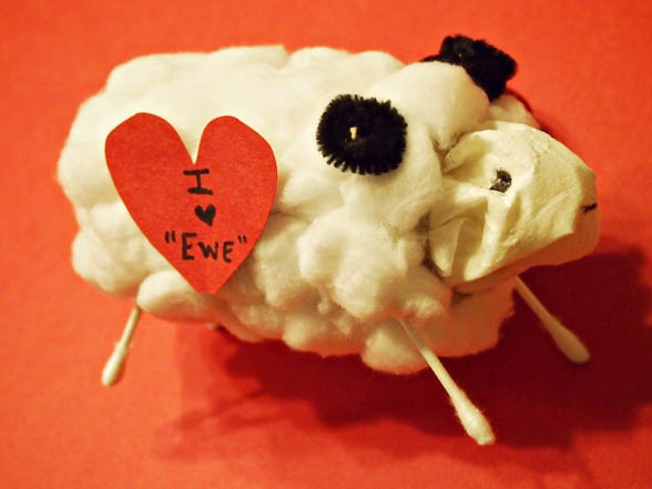 "I love ""ewe"" Valentines Sheep Craft.  You have most of these items on hand."