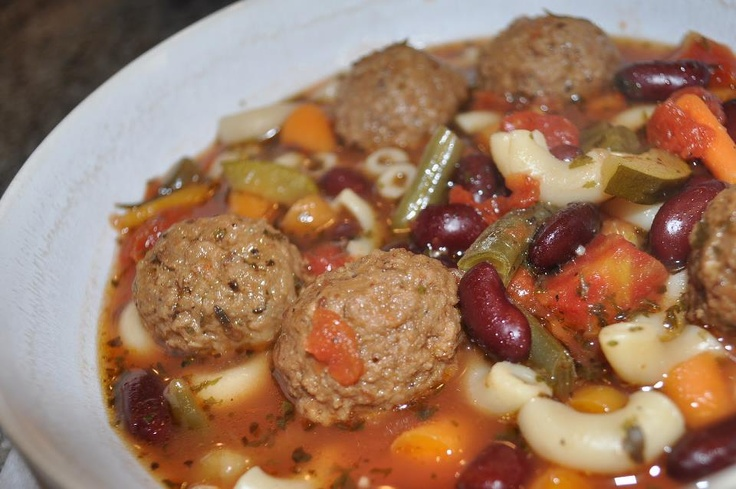 Italian Meatball Soup with Beans | Soups | Pinterest