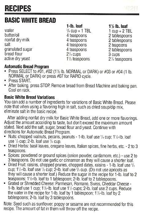bread machine basic white bread recipe