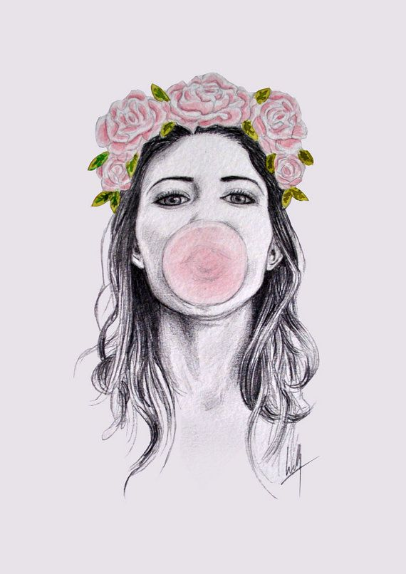 Girl with flower crown drawing - photo#5