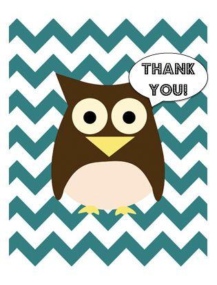Free printables! chevron owl thank you cards