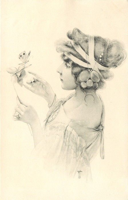 Beautiful girl with elaborate headband looks at butterfly on daffodil ~ 1904