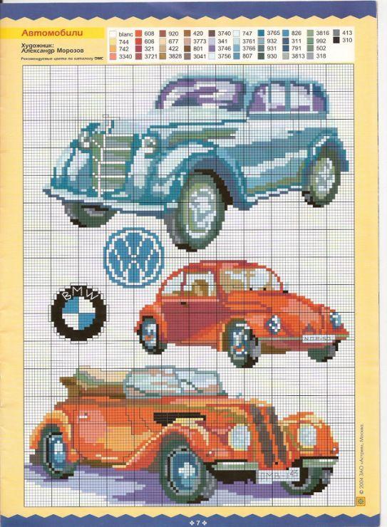 Автомобиль схема вышивки крестом