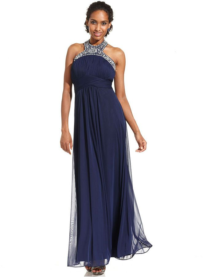 xscape dresses images   Xscape Dress, Sleeveless Jeweled Halter Gown ...