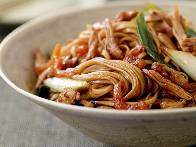 """Cantonese pork lo mein from Maggie Shi's Cookbook """"Easy Asian Noodle..."""