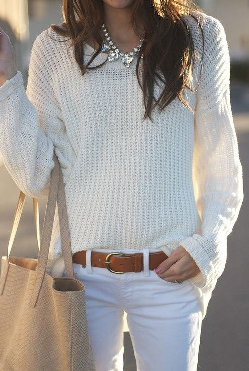 All neutrals. Cream knitted sweater. white jeans. Earth toned accessories. Gorgeous. I love white on white.