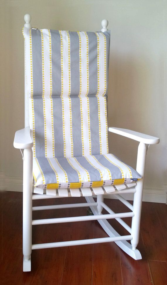 Rocking chair cushion for baby nursery lulu stripe yellow taupe by