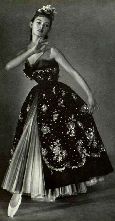 Brigitte Bardot modelling evening wear for Christian Dior, 1950.