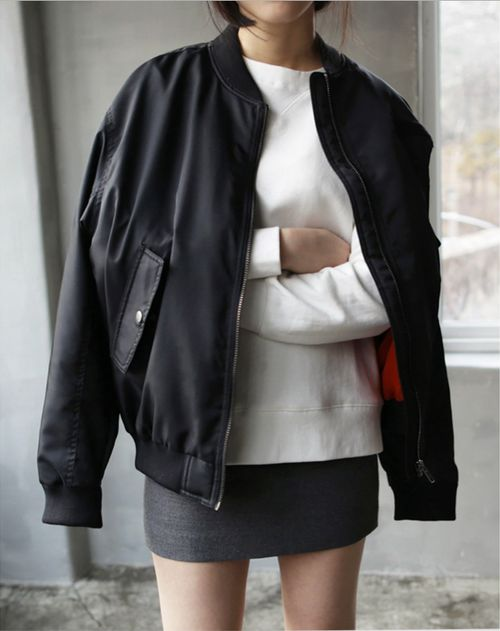 bomber jacket, grey miniskirt, white sweatshirt