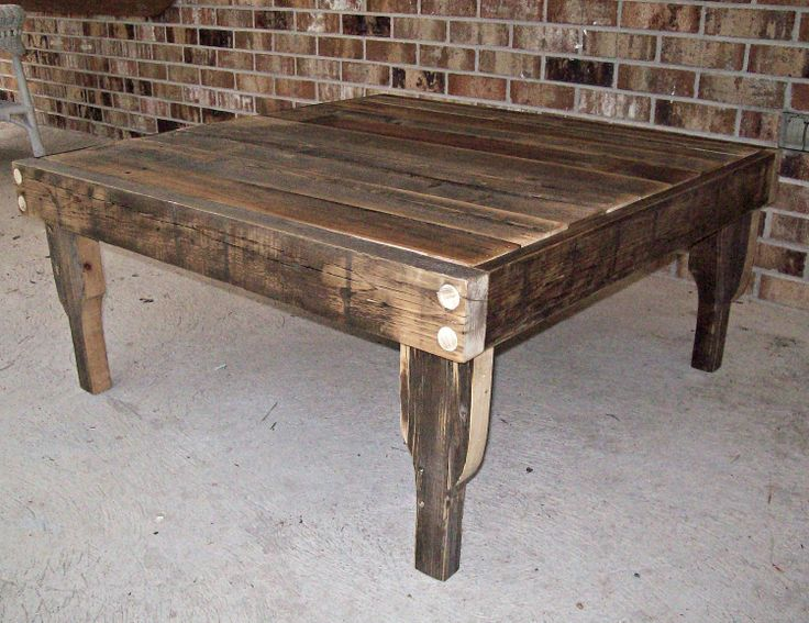 Large Natural Finish Square Reclaimed Fence Wood Coffee Table With Re