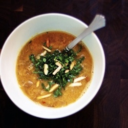 Red lentil and brown rice soup. Enhanced with miso to make it a good ...