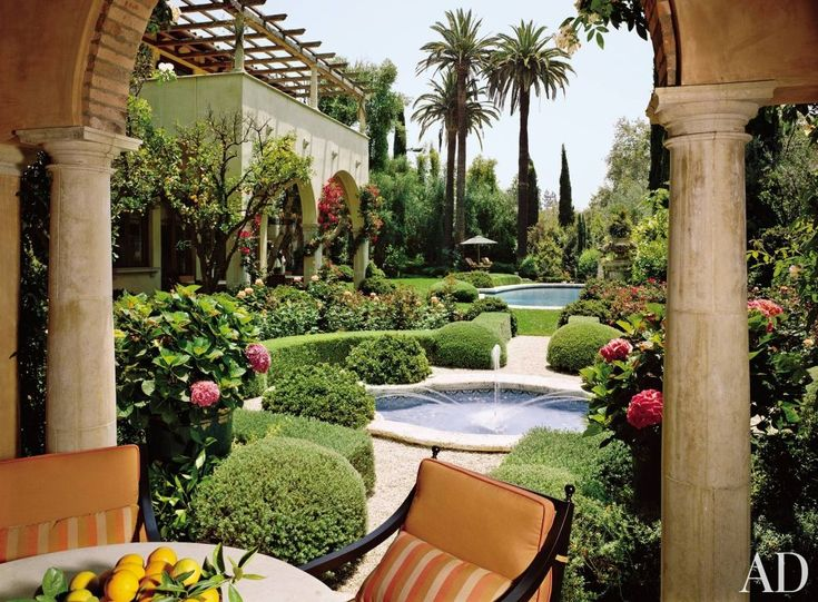 Mediterranean Style Backyard With Pool : Pool Patio