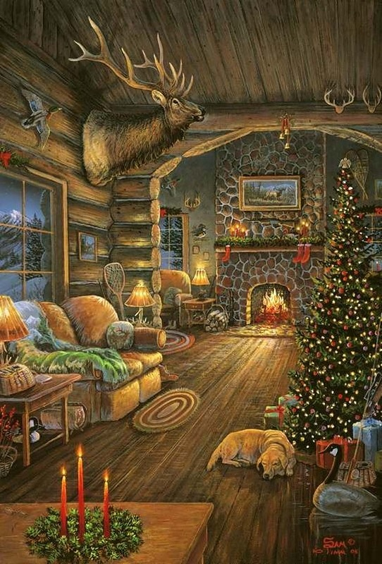 So cozy art sam timm pinterest for Country cabin christmas