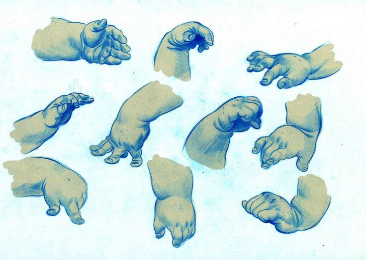 dibujar manos infantiles gruesas