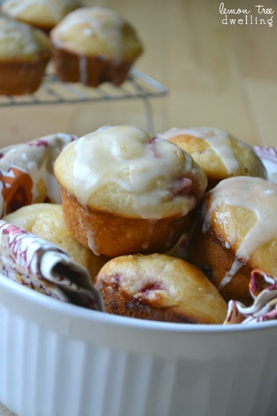 Glazed Strawberry-Peach muffins from Lemon Tree Dwelling - perfect for ...