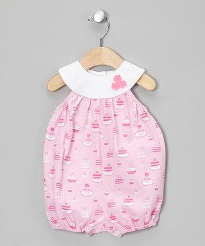 ... Sweet Potatoes Pink Baby Cake Bubble Romper - Infant by Sweet Potatoes